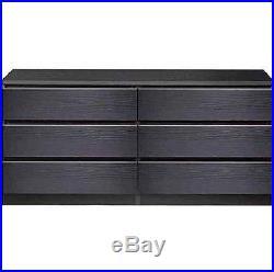 6 DRAWER DRESSER CHEST Wood Storage Organizer Black Bedroom Furniture