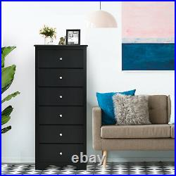 6 Drawer Chest Dresser Clothes Storage Bedroom Tall Furniture Cabinet Black