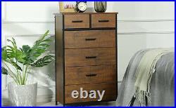 6 Drawer Chest Storage Dresser Wood Frame of Drawers Cabinet for Bedroom Hallway