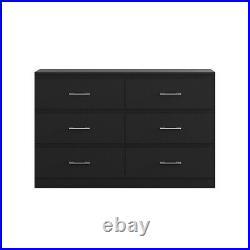 6 Drawer Chest of Drawers Matt Black Tromso Modern Furniture