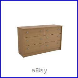 6 Drawer Double Dresser Chest Pine Bedroom Furniture Storage Wood Modern