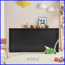 6 Drawer Double Dresser Chest of Drawers Storage Cabinet for Living Room Bedroom