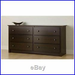 6 Drawer Double Dresser Storage Chest Bedroom Storage Drawers Wood Espresso