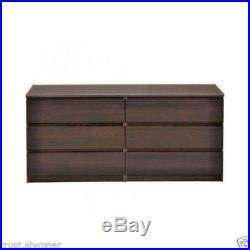 6 Drawer Dresser Bedroom Furniture Storage Wood Double Chest Drawers Espresso