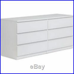 6 Drawer Dresser Bedroom Furniture Storage Wood Double Chest Drawers White NEW