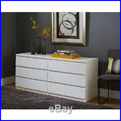 6 Drawer Dresser Bedroom Wood Furniture Double Chest Clothes Storage White