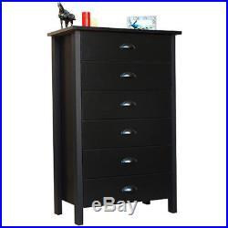 6 Drawer Dresser Chest of Drawers Wooden Black Bedroom Storage Furniture Organiz