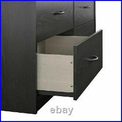 6 Drawer Dresser Furniture Bedroom Organizer Chest of Drawers Black Oak Finish