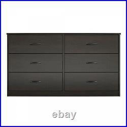 6 Drawer Dresser Furniture Bedroom Organizer Clothes Chest of Drawers, Espresso
