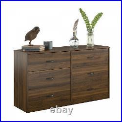 6 Drawer Dresser Furniture Bedroom Organizer Clothes Chest of Drawers, Walnut