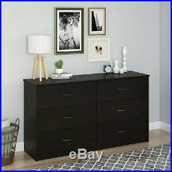6 Drawer Dresser Modern Set Organizer Bedroom Clothes Furniture Chest Dark