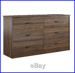 6-Drawer Dresser Organizer Bedroom Clothes Furniture Chest Walnut Finish NEW