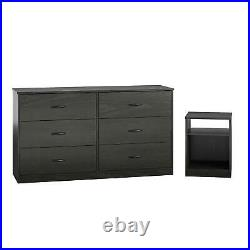 6 Drawer Dresser Organizer Bedroom Clothes Furniture Chest of Drawers Home Black