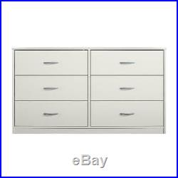 6 Drawer Dresser Organizer Bedroom Clothes Furniture Chest of Drawers Home White