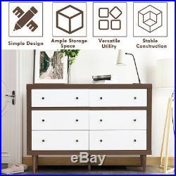 6 Drawer Dresser Wood Chest of Drawers Storage Freestanding Cabinet Organizer