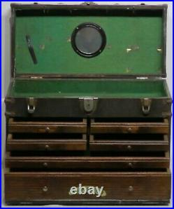 6 Drawer + Top Cabinet Machinist Tool Chest Box Vintage Wood & Metal