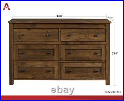 6-Drawer Weathered Aged Barn Wood Clothes Storage Dresser Chest of Drawers Unise