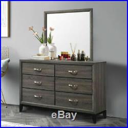 6 Drawers Dresser Mirror Set Chest Cabinet Luxury Home Furniture Storage Gray