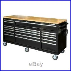 72 in. 18 Drawer Storage Mobile Wood Top Tool Chest Cabinet Workbench