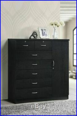 7-Drawer Bedroom Dresser Chest Jumbo Wood Closet Storage Living-room Home Black