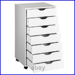 7 Drawer Chest Storage Dresser Floor Cabinet Organizer with Wheels White
