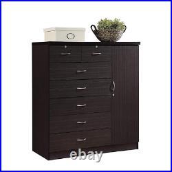 7 Drawer Dresser Bedroom Chest Cabinet Organizer Clothes Storage Furniture Black
