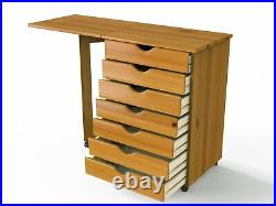 7-Drawers Sewing Table Cabinet Chest Craft Storage Organizer Rolling Office Wood