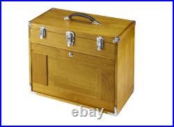 8 Drawer Hard Wood Tool Box Chest Cabinet Storage Mechanic Single Key Locking