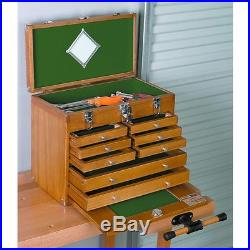 8 Drawer Hard Wood Tool Chest Tacklebox Jewelry Craft Storage Securty Machinist