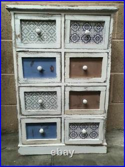 8 Drawer White Chest of Drawers Rustic 55x84x31cm Hand Painted Shabby Chic