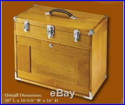 8 Drawer Wood Tool Chest Box Storage Machinist Carpenter Chrome Hardware Felt