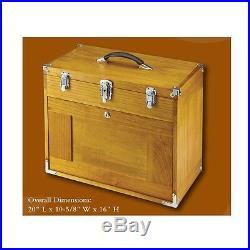 8 Drawer Wood Tool Chest Walnut Stain Fine Auto Shop Project Storage Box Felt