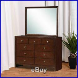 9 Drawers Dresser Mirror Set Chest Cabinet Luxury Home Furniture Storage Brown