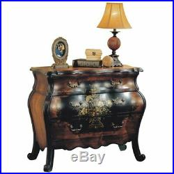 ACME Roma 3 Drawers Bombay Chest in Antique Black and Oak