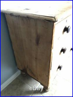 ANTIQUE ENGLISH PINE DRESSER Chest Of Drawers Wood Nightstand Vtg Old Primitive