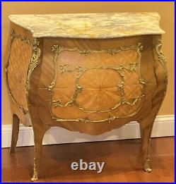 ANTIQUE French Louis XV STYLE 2 DRAWER MARBLE TOP