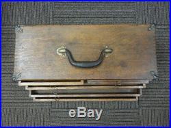 ANTIQUE MACHINIST BOX Oak Wood 6 Drawers Tool Chest