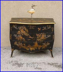 A Mesmerizing MID Century Vintage Italian Chinoiserie Japanned 3 Drawer Chest