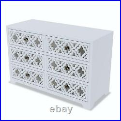 Alexis Mirrored 6 Drawer Chest of Drawers in Pale Grey with Carved Detail ALX003