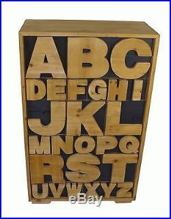 Alphabet Cabinet Wooden Chest of Trinket Storage Drawers Shabby Chic Cupboard