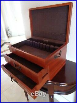 American Reed & Barton Provincial 2 Drawers Silver Flatware Wood Storage Chest
