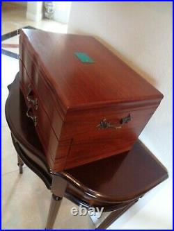 American Reed & Barton Provincial Wooden Silverware Storage Chest Box W Drawers