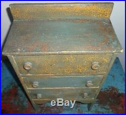 Antique 3 Drawer Spice Cabinet/Box/Cupboard/Chest-AAFA-Old Blue/Green Paint-Prim
