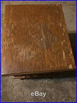 Antique 4 Drawer Sewing Cabinet Chest Side Table Carved Singer Vintage