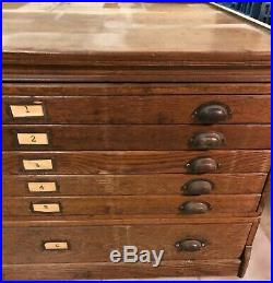 Antique 6 Drawer Wood Map Plans Chest Cabinet Dresser Great Shape LOCAL PICK-UP