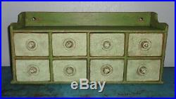 Antique 8 Drawer Spice Cabinet/Box/Cupboard/4Over4-Green Paint/Apothecary/Chest