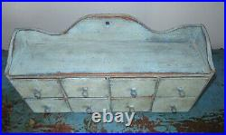 Antique 8 Drawer Spice Cabinet/Box/Cupboard/Apothecary/Chest-Blue Paint-4 Over 4