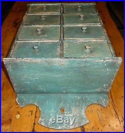 Antique 8 Drawer Spice Cabinet/Box/Cupboard/Apothecary/Chest/Blue-Painted