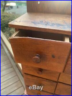 Antique American Spice Box Cabinet Wooden Primitive Chest 8 Drawers Apothecary