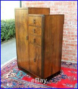 Antique Burl Walnut Art Deco Small Cabinet 8 Shelf, 3 Drawer Dresser Chest